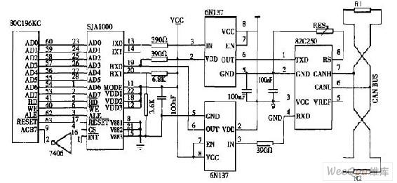 图3:节点单元CAN总线通信接口电路图   节点单元主程序   节点单元主程序流程图如图4所示,完成对A/D转换结果的数据分析, I/O口数字开关量的处理、调用蓄电池充放电参数调整程序、CAN总线通信程序和键盘、LCD显示程序等。其中数据分析包括蓄电池组的充放电电压、电流比较、浮充电压判断、低压切除电压阈值调整等;I/O数字开关量处理包括对开关量的判断、报警等。