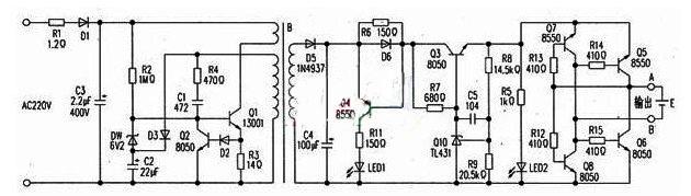 该设计具有电池极性自动识别电路,免去了以往需要人工转换极性的操作,使用起来更加方便。   一、电路原理   电路如附图所示:Q1及外围元件构成自激振荡器.经变压器B降压、D5整流后在C4上得到9.4v的直流电压。通过R6限流.Q10(TL431)稳压后.在Q3发射极输出4.2v电压供锂电池充电。其极性自动识别电路由Q5~Q8、R12~R15组成。当A点接电池正极,B点接负极时,Q8因为有R12提供正偏电压而导通,Q5由R14提供偏压导通。充电电流由Q5A点电池EB点Q8的C极形成充电回路。当A点接电