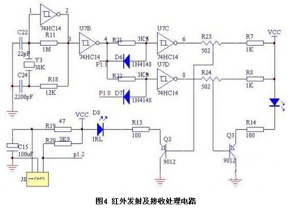 光源检测电路 为了检测光线的强弱,我们在小车左前方、右前方加了2只光敏传感器,即光敏电阻。电路如图5所示。光敏传感器根据照射在它上面的光线的强弱,阻值发生变化,输出电压随之变化,通过ADC0809后,得到与光强相对应的数字量,从而引导小车,向光源靠近。不同型号的光敏电阻,暗电阻及亮电阻差别较大,需根据不同参数的光敏电阻,选用不同大小的分压电阻。