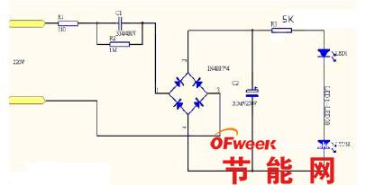 电路图,使用220v电源供电,220v交流电经降压电容降压后经全桥整流再
