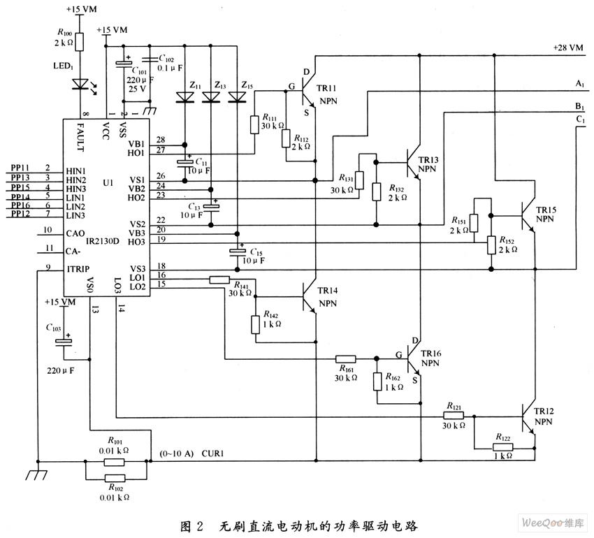 通过输出h01~h03分别控制三相全桥驱动电路的上半桥q1,q3,q5导通关断