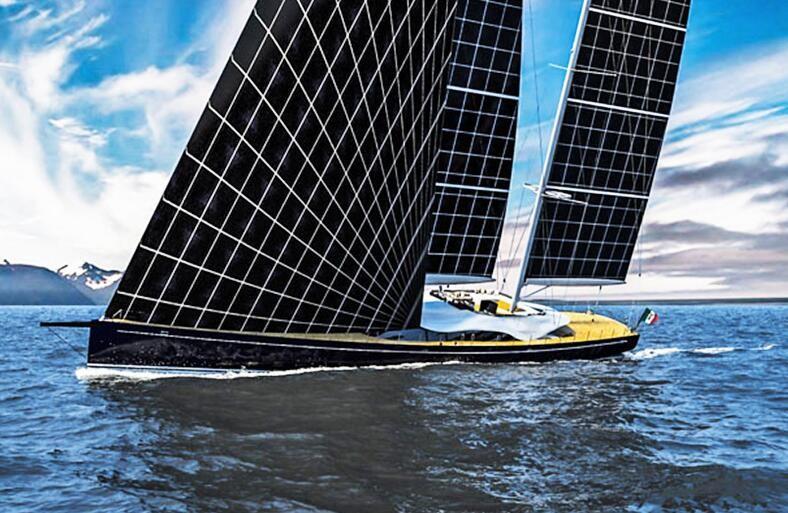 """Helios也是一款概念产品,它豪华游艇的内心外,却裹着一个奇怪的帆船造型,不过普通的帆在这里换成了太阳能电池板。据悉,该船的""""帆""""将由2500块太阳能电池板打造而成,可以产出355kWh的清洁能源。此外,这艘大游艇可真够长,达到了180.5英尺(约合55米),其船上的配置也是奢华至极,设计师甚至为它安了个电影院。"""