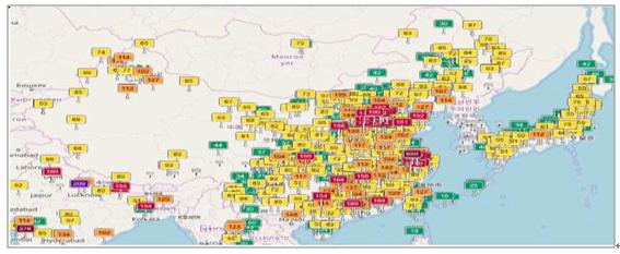 亚洲地囹�9�%9�._亚洲空气污染实时aqi监测数据图(2017年9月6日数据)