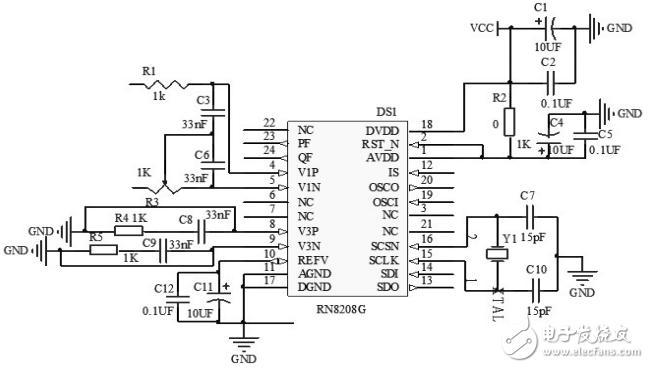 图2 电量采集计量模块的工作电路 (2)该装置的支付模块主要作用是进行电费的的支付,以及将支付后的信息传递给单片机。该模块只需要简单的操作就可以完成对IC卡的全部操作,具有默认寻卡方式,当卡片进入天线时,LED出现低电平,上位机可以直接通过寻卡指令读取卡片序列号,通信采用硬件简单,资源消耗少的SPI通信,极大的提高了精确度,降低了读卡失误率。用户刷卡信息直接通过单片机和上位机传到PC里保存,便于核对信息。该支付模电路图如图3所示。
