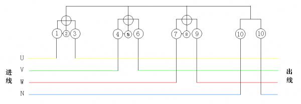 三相电表直接接线式示意图