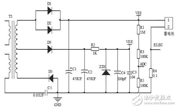 蓄电池的负极经0.1Ω的采样电阻接到地上构成电流采样电路.